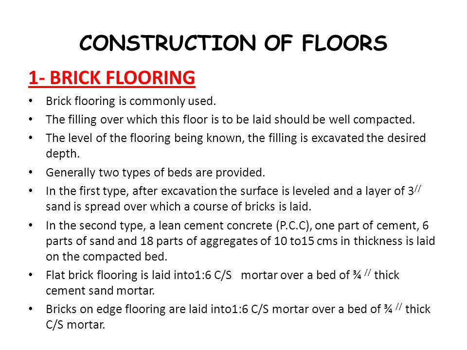 CONSTRUCTION OF FLOORS