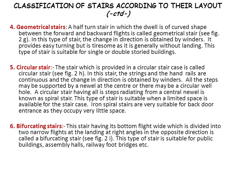 CLASSIFICATION OF STAIRS ACCORDING TO THEIR LAYOUT (-ctd-)