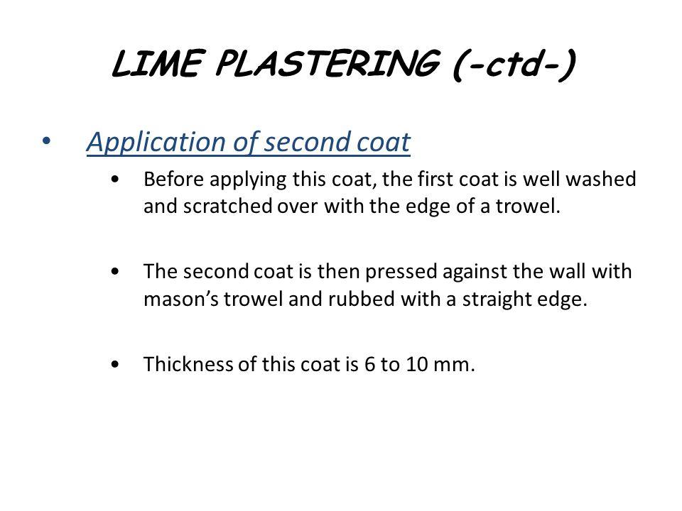 LIME PLASTERING (-ctd-)