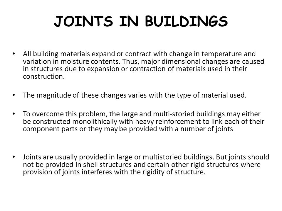 JOINTS IN BUILDINGS