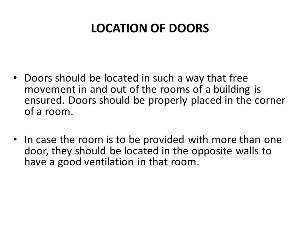 LOCATION OF DOORS