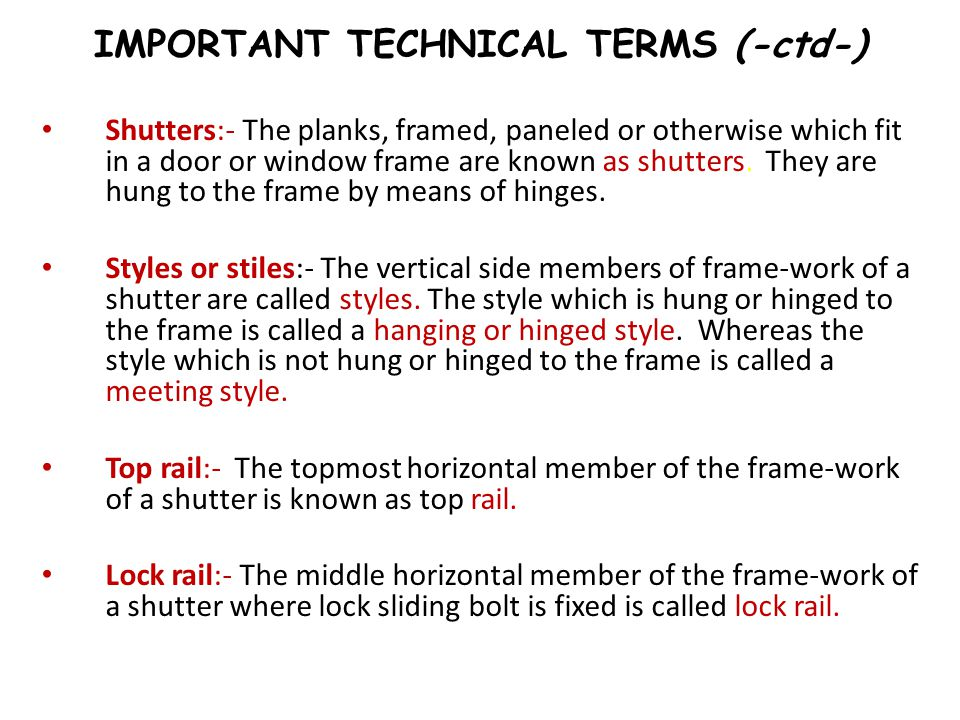 IMPORTANT TECHNICAL TERMS (-ctd-)