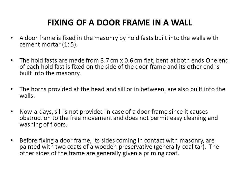 FIXING OF A DOOR FRAME IN A WALL