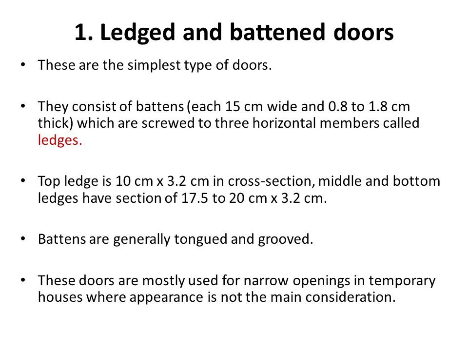 1. Ledged and battened doors