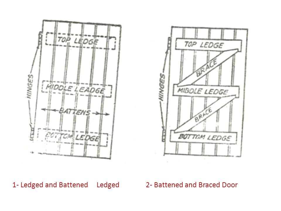 1- Ledged and Battened Ledged 2- Battened and Braced Door