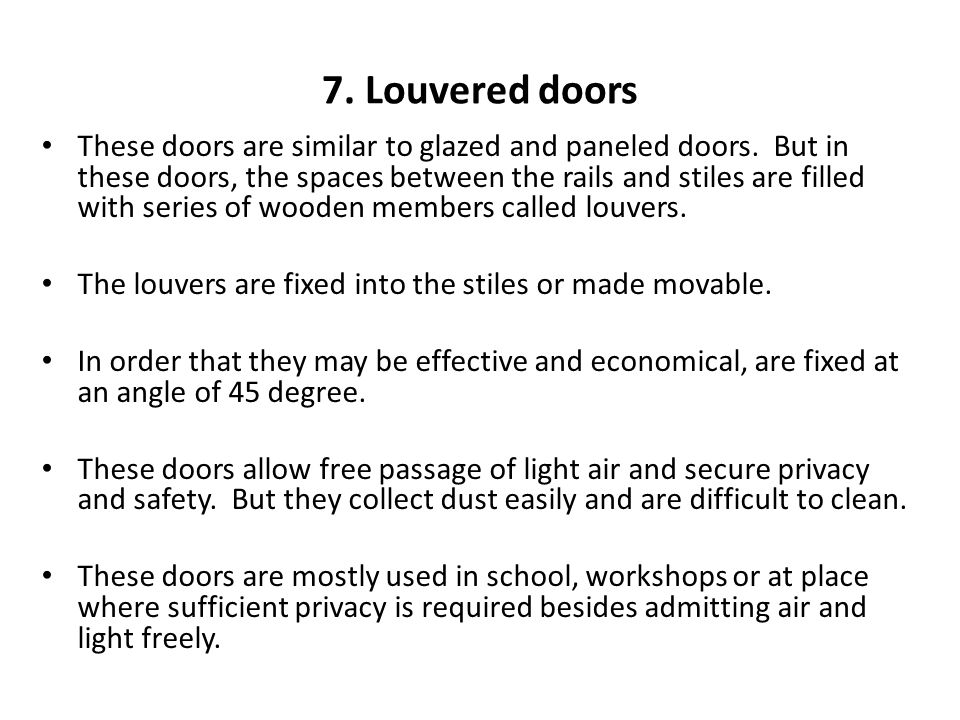 7. Louvered doors
