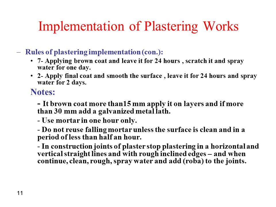 Implementation of Plastering Works