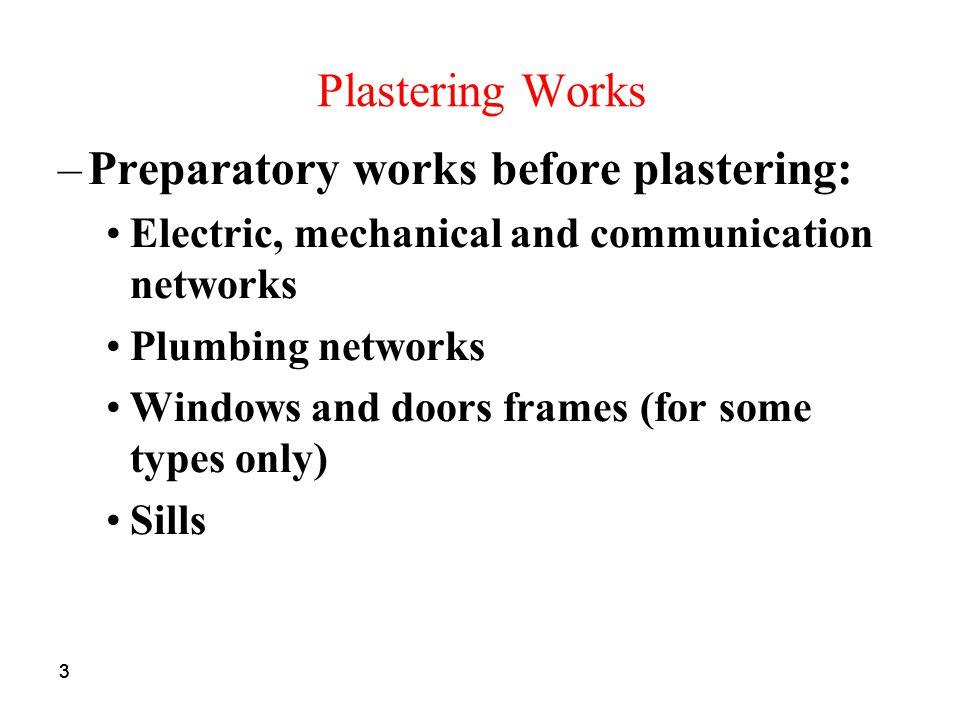 Preparatory works before plastering: