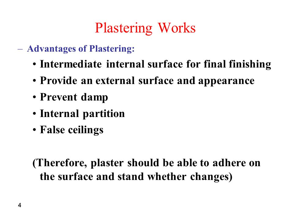 Plastering Works Intermediate internal surface for final finishing
