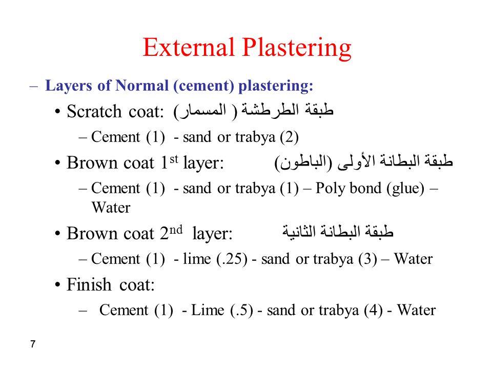 External Plastering Scratch coat:طبقة الطرطشة ( المسمار)