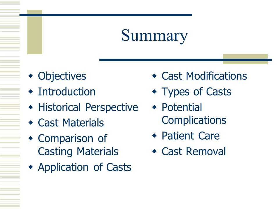 Summary Objectives Introduction Historical Perspective Cast Materials