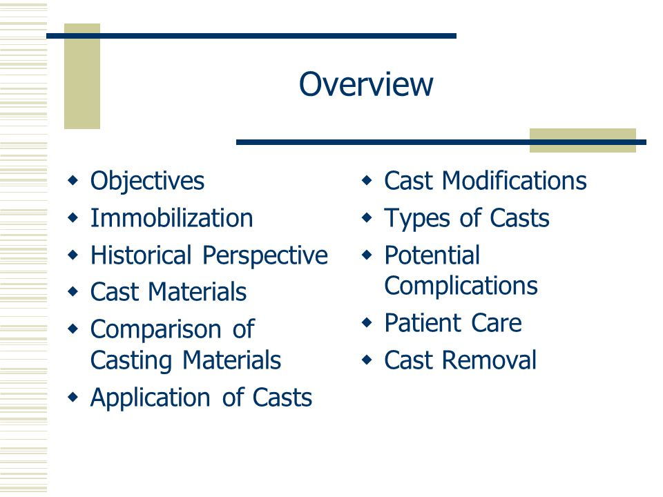 Overview Objectives Immobilization Historical Perspective
