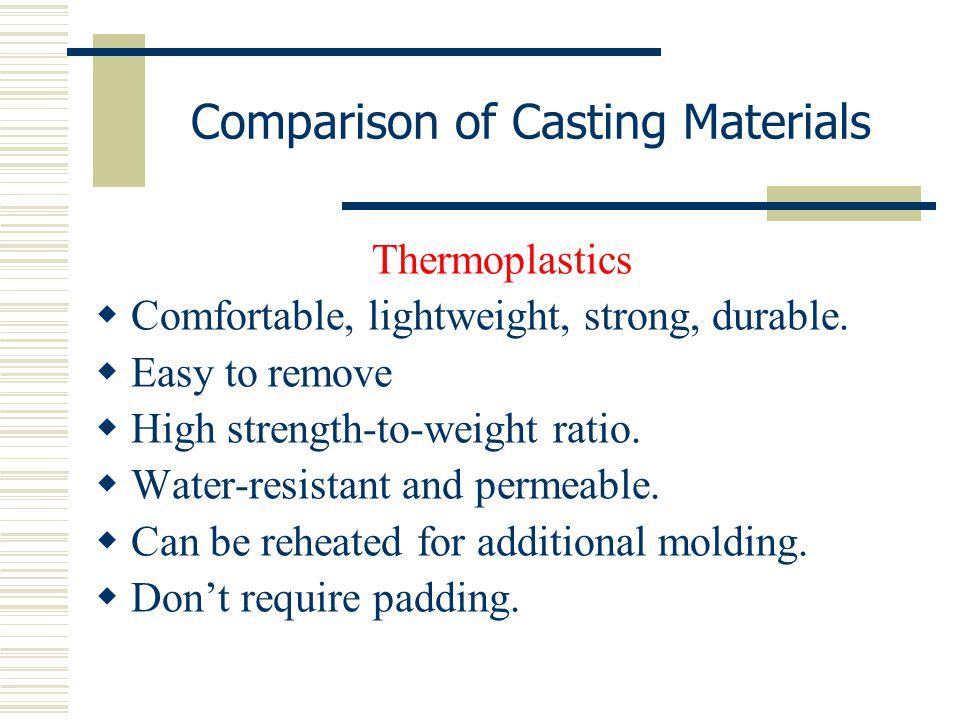 Comparison of Casting Materials