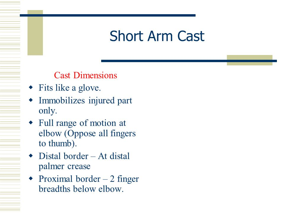 Short Arm Cast Cast Dimensions Fits like a glove.