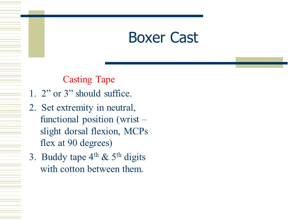 Boxer Cast Casting Tape 1. 2 or 3 should suffice.
