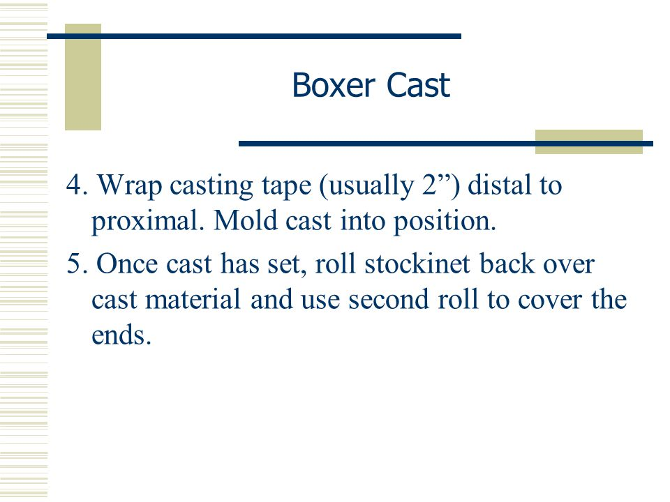 Boxer Cast 4. Wrap casting tape (usually 2 ) distal to proximal. Mold cast into position.