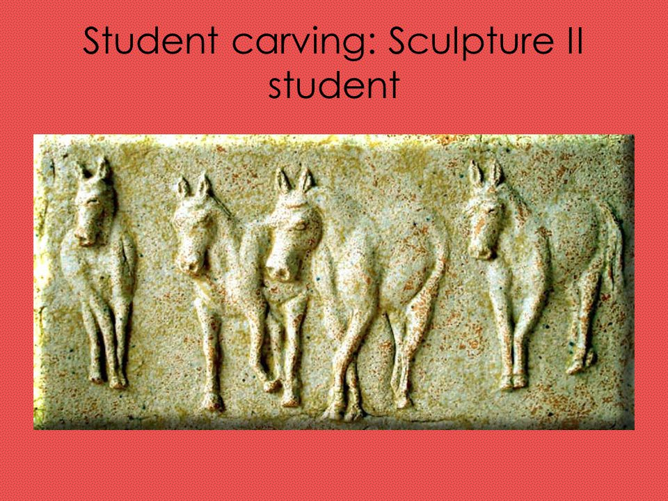 Student carving: Sculpture II student