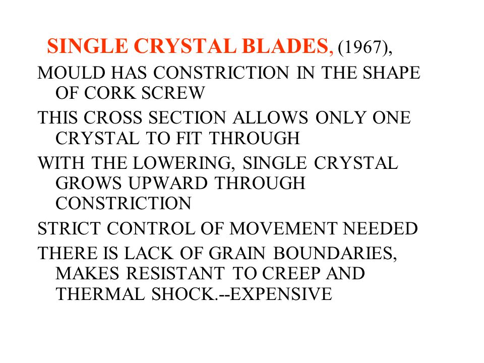 SINGLE CRYSTAL BLADES, (1967),