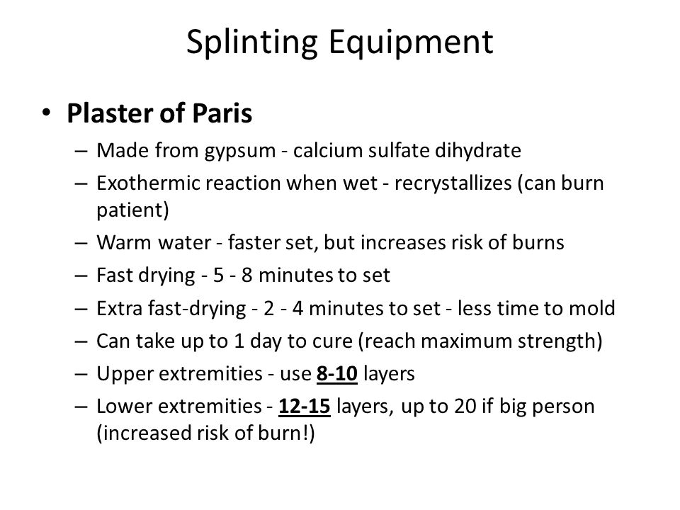 Splinting Equipment Plaster of Paris