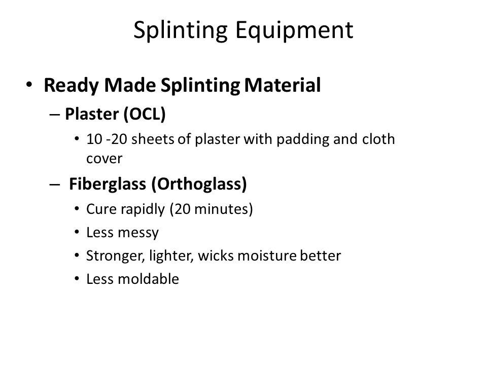 Splinting Equipment Ready Made Splinting Material Plaster (OCL)