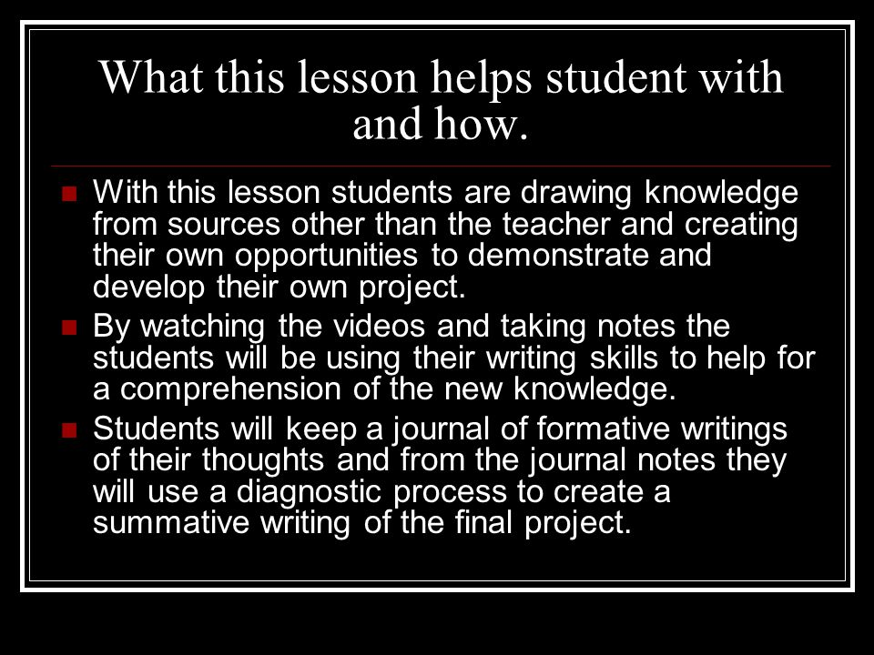 What this lesson helps student with and how.