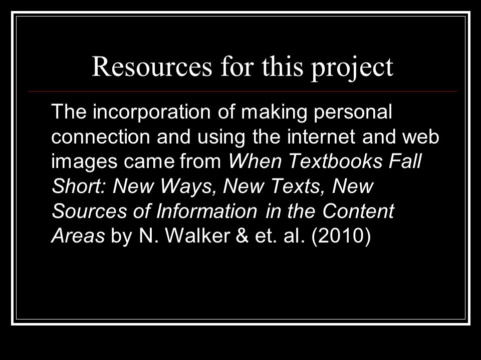 Resources for this project