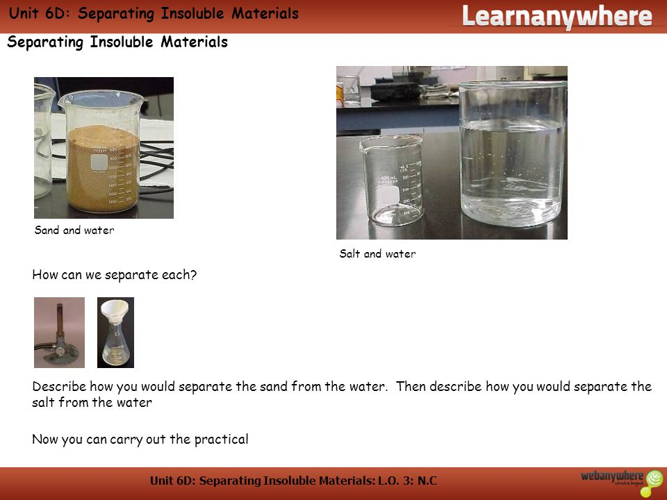 Unit 6D: Separating Insoluble Materials