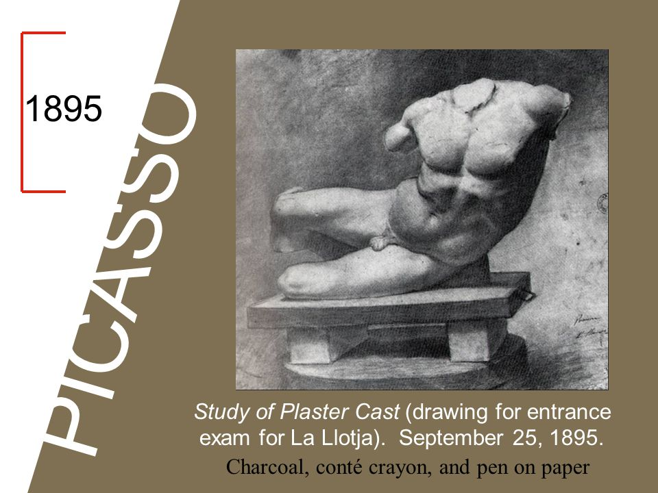 PICASSO 1895 Study of Plaster Cast (drawing for entrance