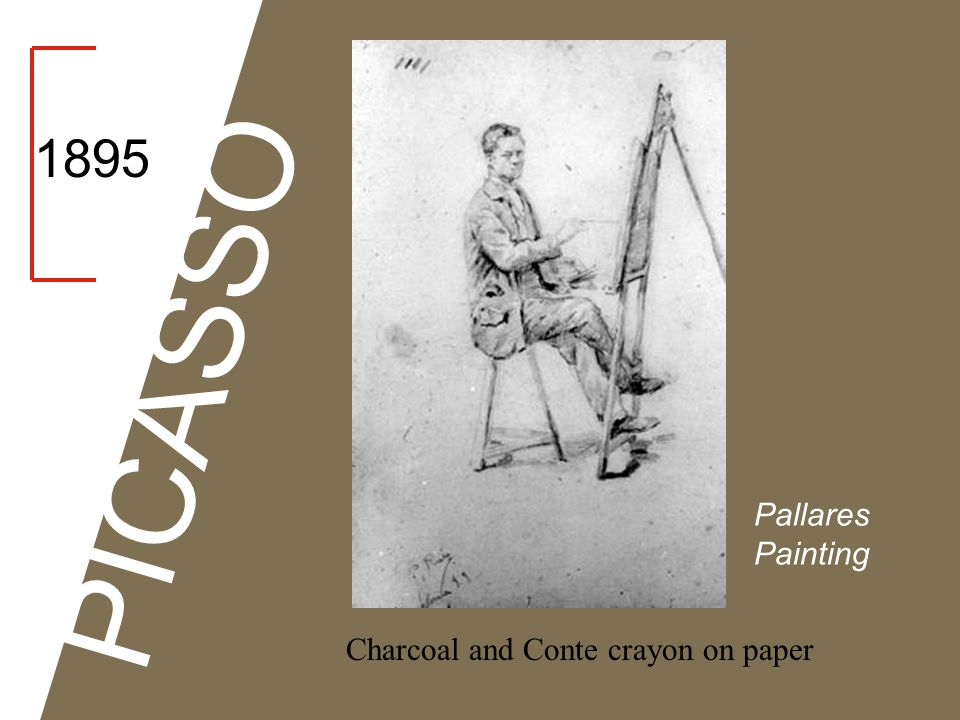 1895 PICASSO Pallares Painting Charcoal and Conte crayon on paper
