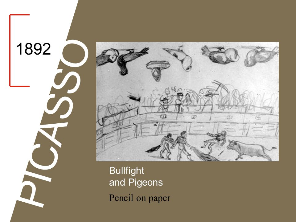 1892 PICASSO Bullfight and Pigeons Pencil on paper