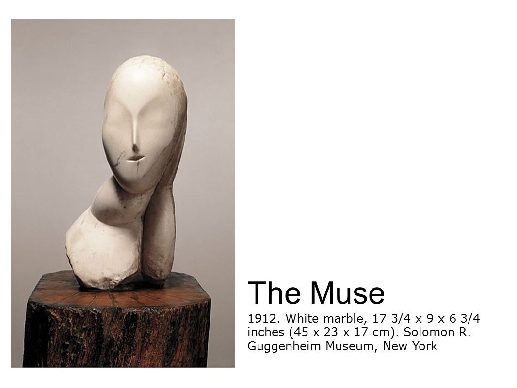 The Muse 1912. White marble, 17 3/4 x 9 x 6 3/4 inches (45 x 23 x 17 cm).