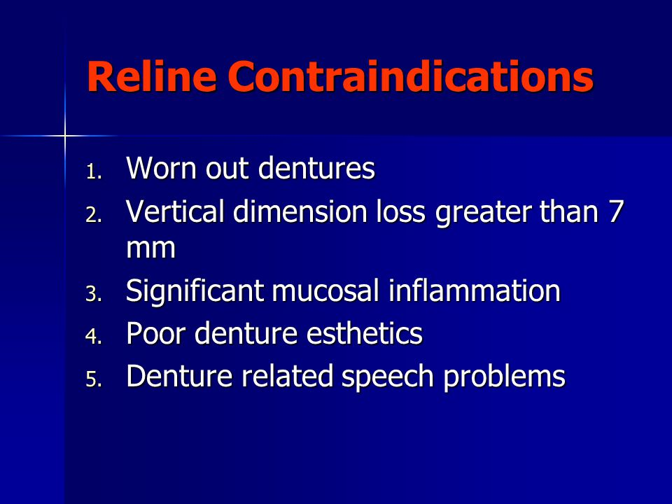 Reline Contraindications