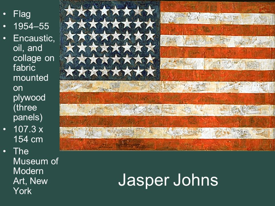 Flag 1954–55. Encaustic, oil, and collage on fabric mounted on plywood (three panels) 107.3 x 154 cm.
