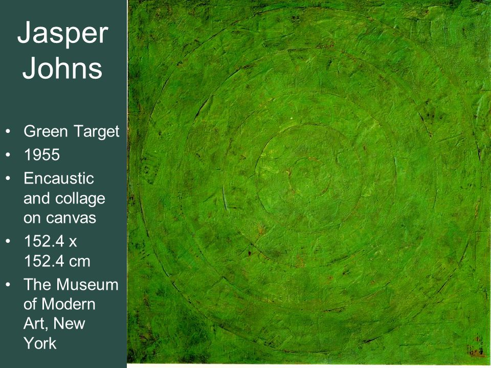 Jasper Johns Green Target 1955 Encaustic and collage on canvas