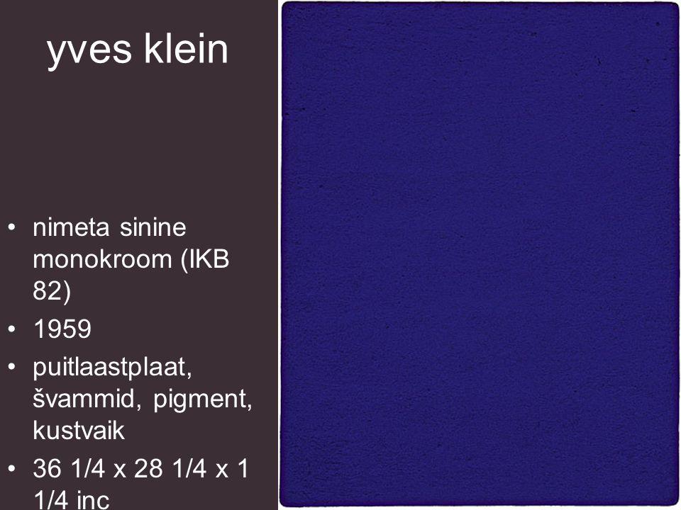 yves klein nimeta sinine monokroom (IKB 82) 1959