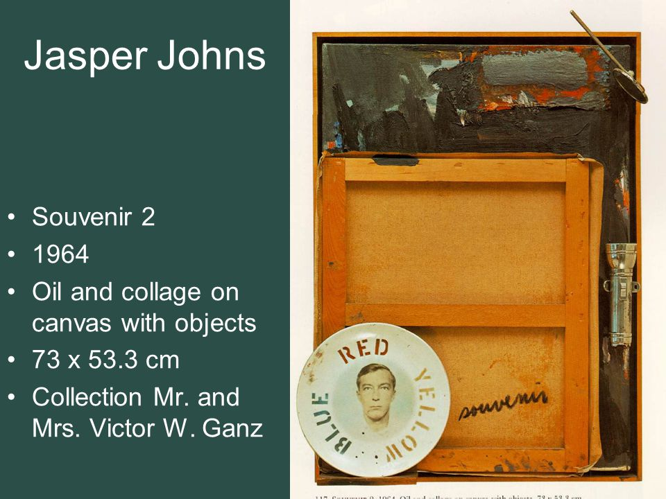 Jasper Johns Souvenir 2 1964 Oil and collage on canvas with objects