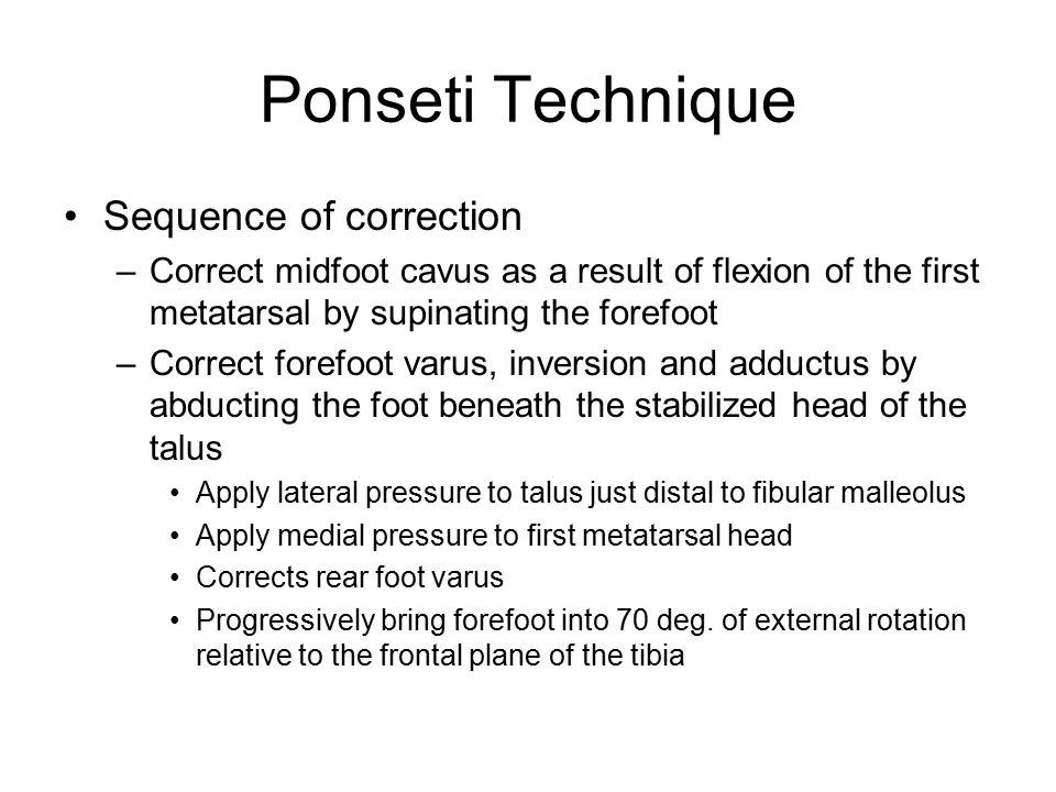 Ponseti Technique Sequence of correction