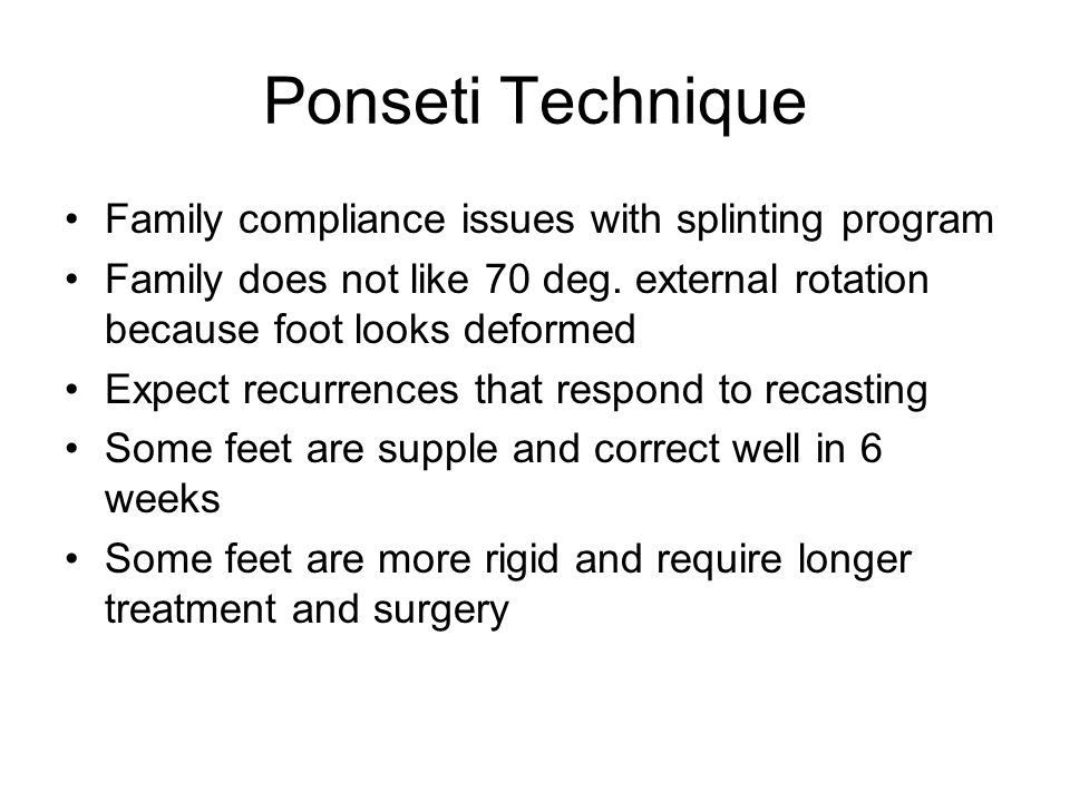 Ponseti Technique Family compliance issues with splinting program