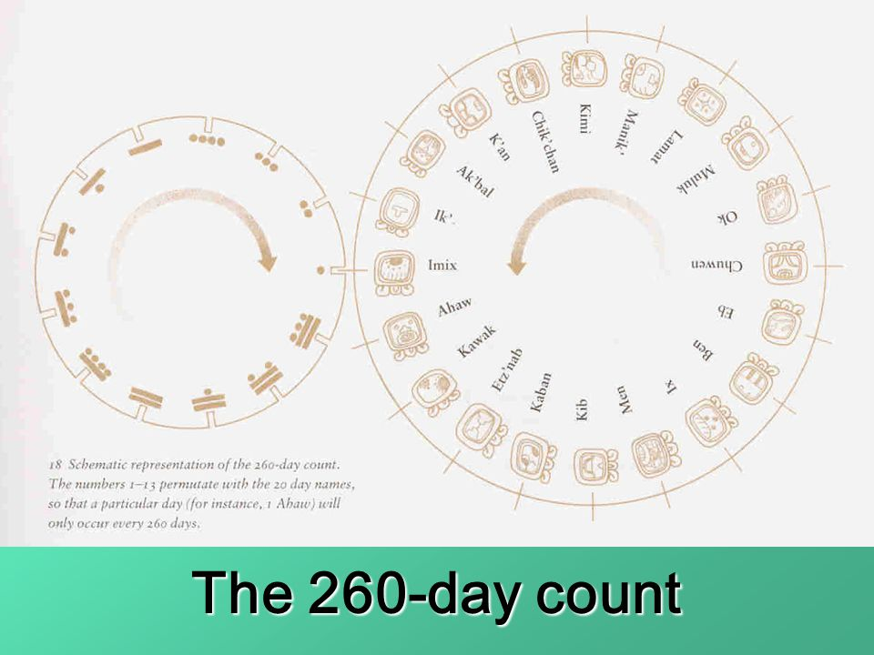 The numbers 1-13 permutate with the 20 day names, so that a particular day will occur every 260 days