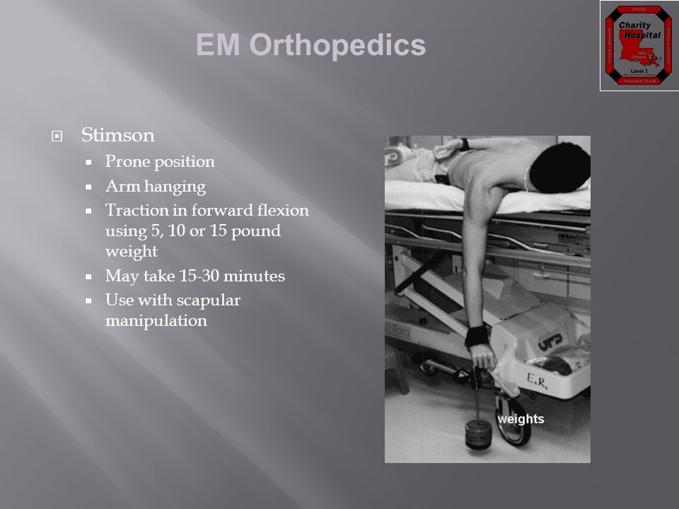 Stimson Prone position Arm hanging