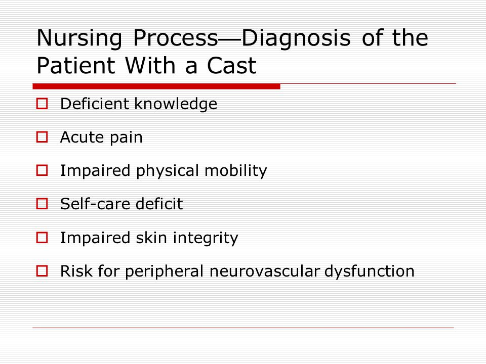 Nursing Process—Diagnosis of the Patient With a Cast