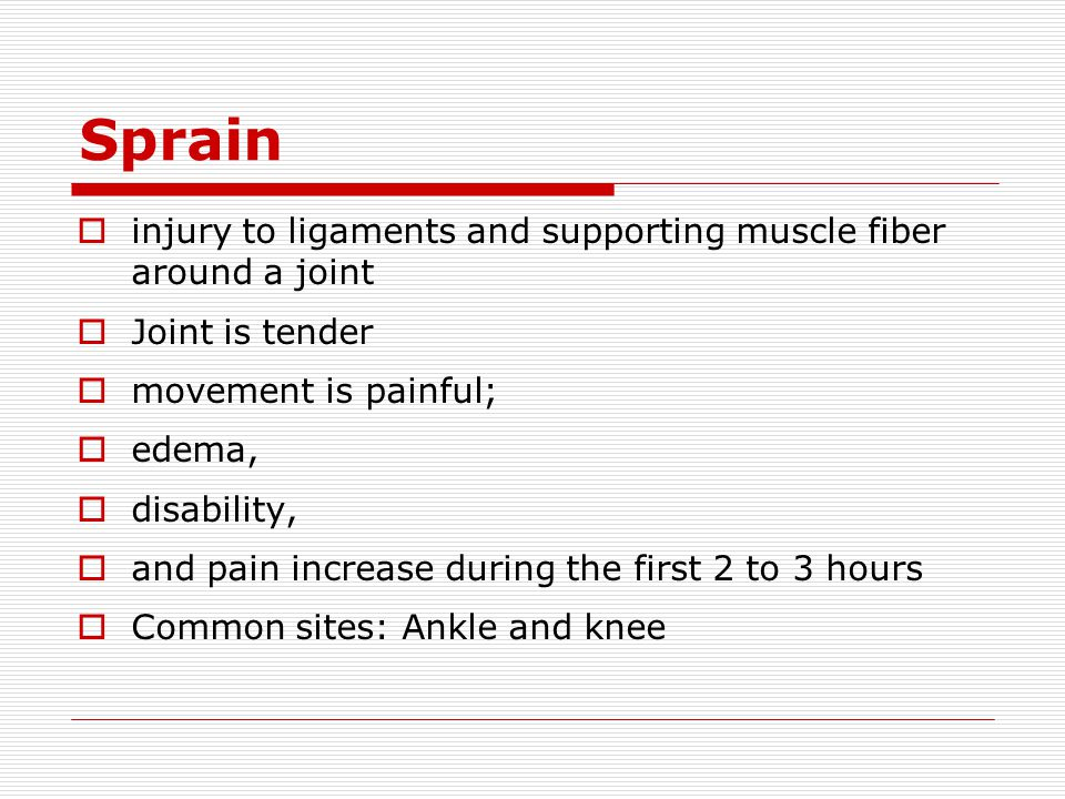 Sprain injury to ligaments and supporting muscle fiber around a joint