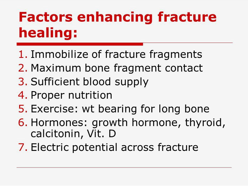 Factors enhancing fracture healing: