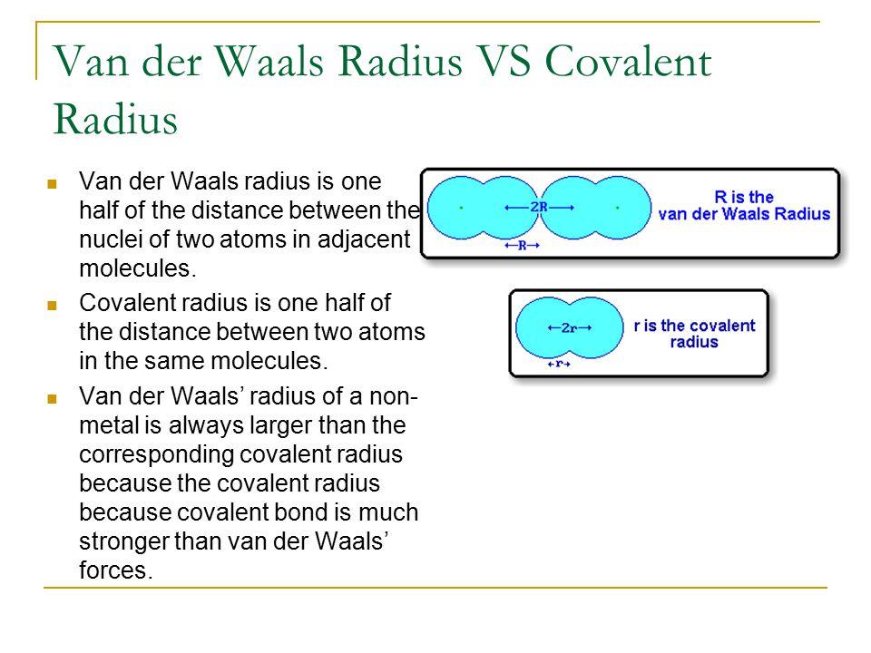 Van der Waals Radius VS Covalent Radius