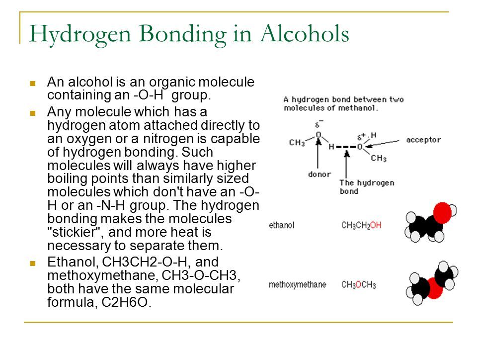 Hydrogen Bonding in Alcohols