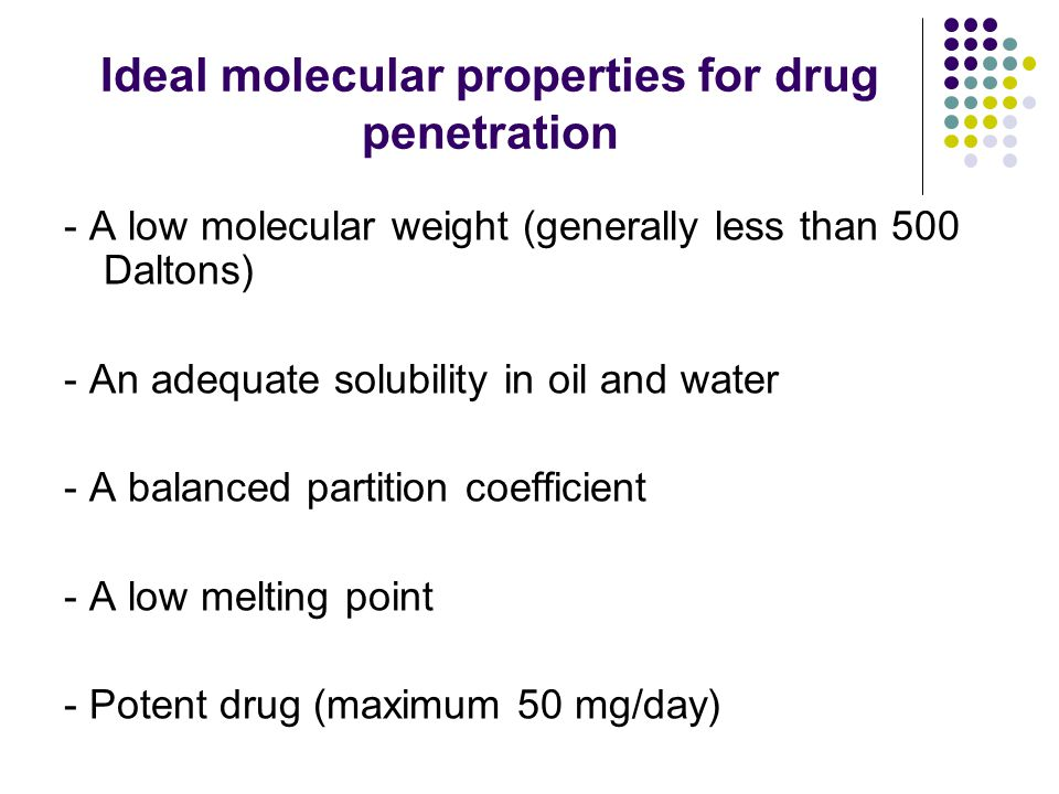 Ideal molecular properties for drug penetration