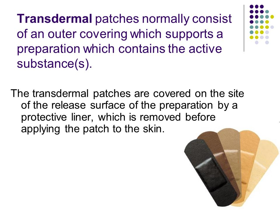 Transdermal patches normally consist of an outer covering which supports a preparation which contains the active substance(s).