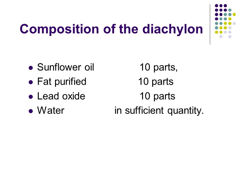 Composition of the diachylon