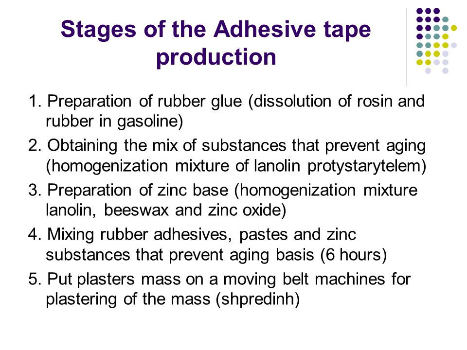 Stages of the Adhesive tape production