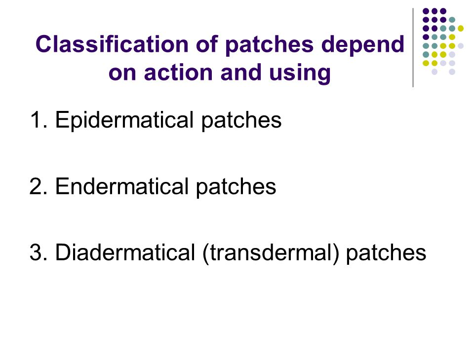 Classification of patches depend on action and using